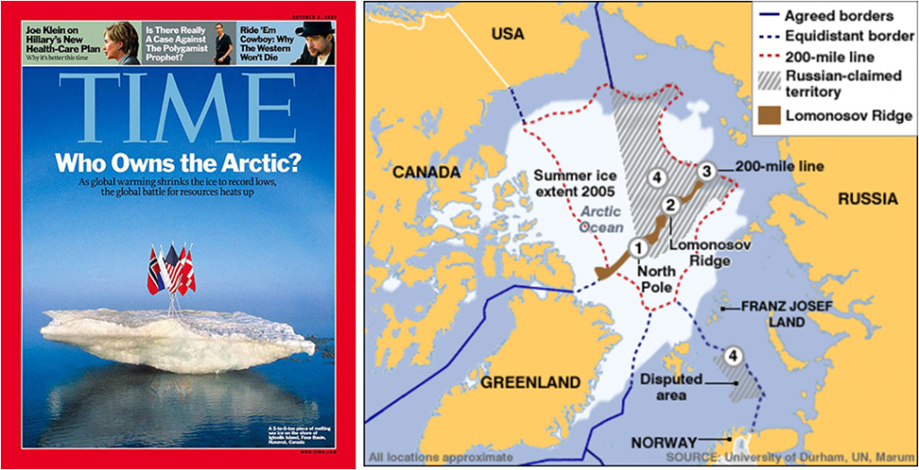 Who owns the Arctic? Left: Time Magazine October 2007. Right: Environmental Law Prof Blog